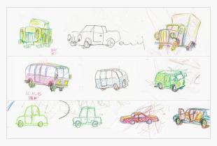 vintage cars sketches