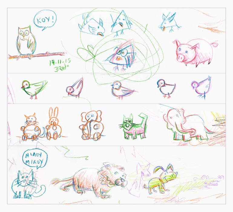 sketches of various animals